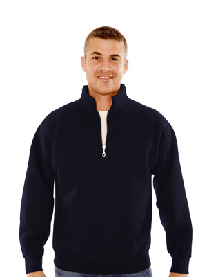 Midnight navy Canadian fleece 1/4 zip with collar.