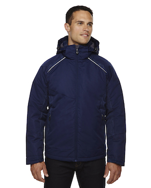 insulated jacket with print in dark blue.