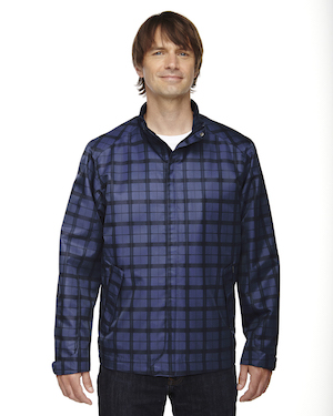 lightweight city plaid jacket in night blue.