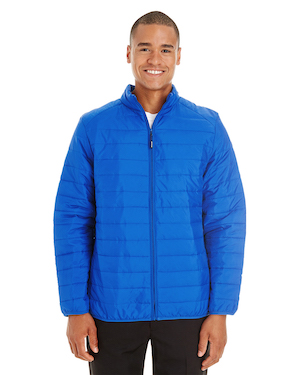 packable puffy coat in royal blue.