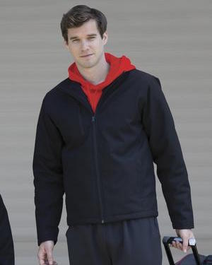 black insulated soft shell jacket.