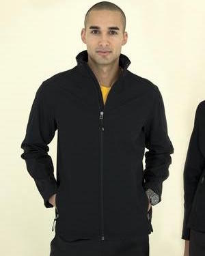 soft shell jacket in black.