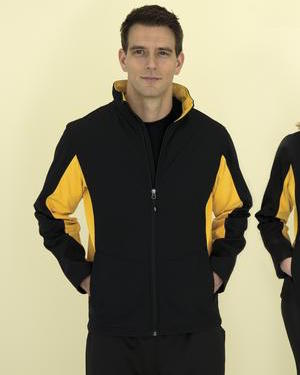 two tone soft shell jacket in black and gold.