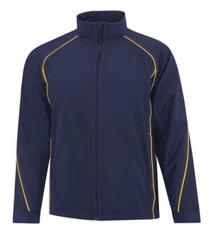 lightweight jacket in navy blue with gold piping.