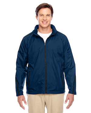fleece lined jacket in blue.