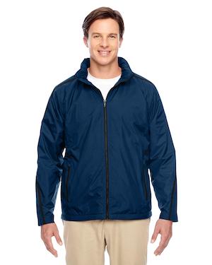 fleece lined jacket in blue.