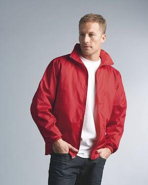 premium windbreaker jacket in red.